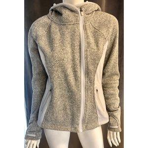 Athleta Gray Hooded Asymmetrical Zip Up Jacket